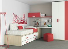 Teenage Bedroom Ideas – Redecorating on a Budget Bedroom Decor For Small Rooms, Childrens Bedroom Furniture, Bedroom Furniture Sets, Bed Furniture, Kids Bedroom Designs, Kids Room Design, Space Saving Furniture, Cool Beds, Home Decor Inspiration