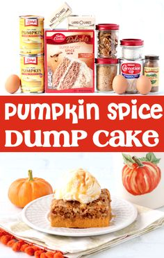 Pumpkin Recipes - Easy Spice Dump Cake Recipe!  With the perfect blend of sweet pumpkin and cozy Fall spices, this rich and decadent dessert is always a crowd-pleaser!  Go grab the recipe and give it a try this week! Snack Mix Recipes, Fall Recipes, Sweet Recipes, Holiday Recipes, Yummy Recipes, Spice Dump Cake Recipe, Dump Cake Recipes, Dump Cakes, Dessert Dishes