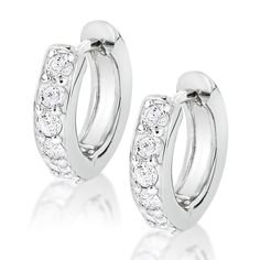 14k Gold Small Diamond Hoop Earrings Huggies 1/2ct