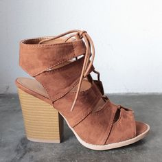 11100a2c875 summer nights cut out laced up block heel sandals (more colors) Brown Heeled  Sandals