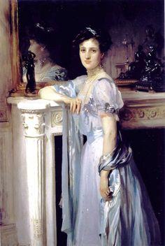 John Singer Sargent (American expatriate artist, 1856-1925) Mrs. Louis Raphael  It's About Time