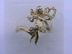Vintage 18K Gold Angel Ring with Diamonds ** Not Scrap ** Estate 18K Gold Ring