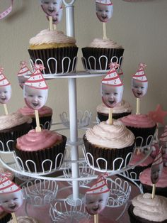 Baby birthday cupcakes. Cute idea!