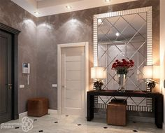 A modern entryway décor is a perfect opportunity to surprise your guests. You can create a sleek design with statement pieces or you prefer a more intimate and Entryway Furniture, Luxury Furniture, Entryway Decor, Furniture Design, Flur Design, Hall Design, Home Interior, Interior Decorating, Modern Hallway
