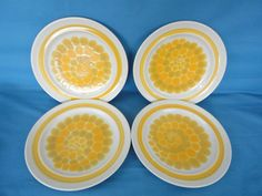 "8 Franciscan Earthenware Sundance Yellow Spiral Band Dinner Plates RETRO 10.5"" #Franciscan"