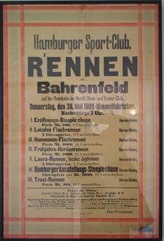 Deutsches Derby Hamburg Horn: Historisches Rennplakat in der Waage. Übrigens ein Steeple Case Rennen geht über verschiedene Hindernisse.