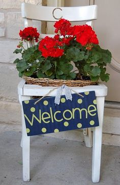 welcome chair planter- my front doorstep is actually big enough for this. Outdoor Projects, Garden Projects, Outdoor Decor, Garden Chairs, Garden Planters, Chair Planter, Red Geraniums, Old Chairs, Painted Chairs