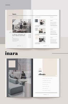 Pitch Pack - Inara --- For those looking for a professional presentation, the 'Inara' Pitch Pack for Adobe InDesign offers a modern and elegant design that Magazine Layout Design, Book Design Layout, Page Design, Editorial Layout, Editorial Design, Portfolio Design, Photoshop, Presentation Layout, Professional Presentation
