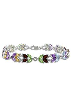 8.6ct Multi-Gemstone & Sterling Silver Bracelet - Beyond the Rack