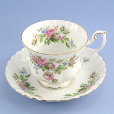 Vintage Royal Albert 'Moss Rose' English bone china tea cup & saucer, at ChatsworthVintage on Etsy, $20