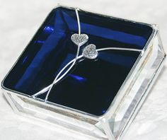 Stained Glass Jewelry Box Elegant Indigo Blue with two scrolled hearts by GaleazGlass