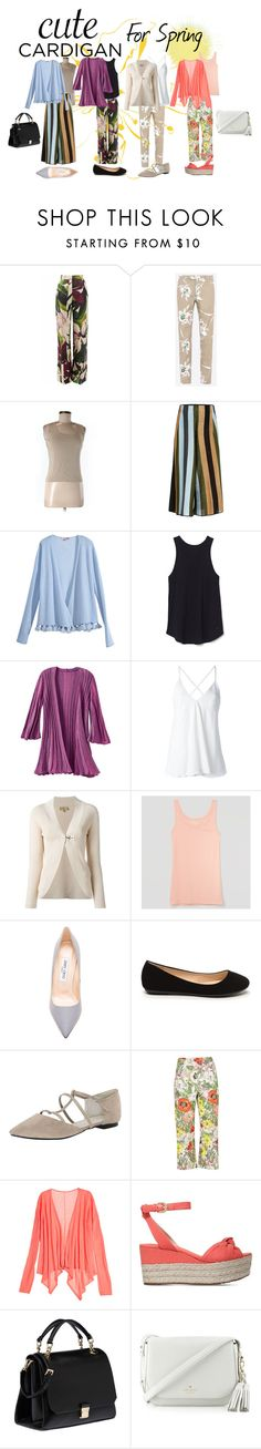 """""""Cardigans for Spring"""" by tammydevoll ❤ liked on Polyvore featuring Erika Cavallini Semi-Couture, Valentino, Ann Taylor, Circus Hotel, Calypso St. Barth, TravelSmith, Dondup, FAY, LOFT and Jimmy Choo"""