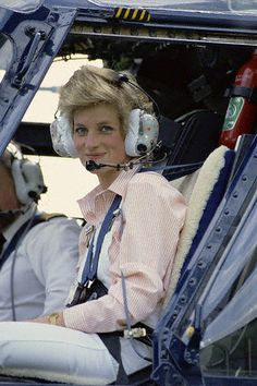 Princess Diana takes a short spin over Highgrove House in a  helicopter. June 1986 Gloucestershire, England, UK