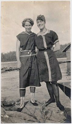 Old Photo 2 Women wearing Swimsuits at Lake Early 1900s Photograph Swimming