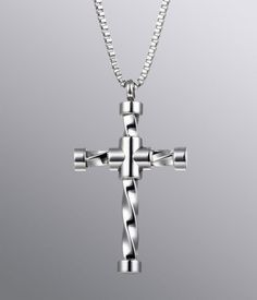 High Shine Helix Cross Stainless Steel Pendant Necklace for Men - Free Shipping