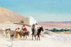 Algérie - Peintre Français Eugène Girardet (1853-1907), huile sur toile , Titre : Caravane