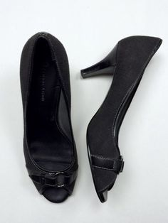 Etienne Aigner 10 Charcoal Gray Black Canvas Leather Peep Toe Pumps Heels Fabric #EtienneAigner #PumpsClassics