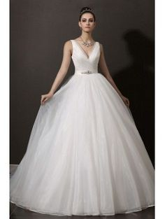 Organza V-neck Chapel Train Ball Gown Wedding Dress with Crystal