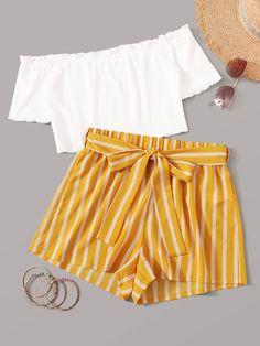 Multicolor Off Shoulder Top and Self Belted Shorts Set - Summer Outfits Girls Fashion Clothes, Teenage Girl Outfits, Summer Fashion Outfits, Teenager Outfits, Fashion Kids, Girl Fashion, Fashion Dresses, Outfits 2016, Lolita Fashion