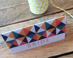 RETRO Wedding Place Card, personalised, printable, downloadable, by AnnaVictoriaDesigns