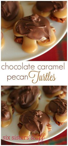 Chocolate Caramel Pecan Turtles recipe from These turtles make a great gift or dessert for your friends and loved ones. They are easy to make and look like you spent hours in the kitchen! Caramel Recipes, Candy Recipes, Sweet Recipes, Dessert Recipes, Fudge Recipes, Yummy Recipes, Toffee, Caramel Pecan, Bonbon