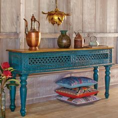 """Electric Blue Mango Wood (fast growing/sustainable) Console Table - Hand-crafted in India, victorian legs, ornate ornamental carvings and intricate cutout pattern, this console table is representation of India's British colonial past and Mughal roots. Table top hand carved cutout patterns of a compass rose.  64"""" X 15"""" X 30"""" CRAFT BY WORLD MARKET 