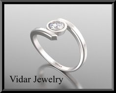 14K  Diamond Solitaire Engagement Ring by Vidarjewelry on Etsy, $2550.00