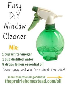 Easy DIY Window Cleaner Mix: 1 c white vinegar 1 c distilled water 8 drops lemon essential oil Shake, spray and wipe for a streak-free shine! Essential Oils Cleaning, Essential Oil Uses, Lemon Essential Oils, Homemade Cleaning Supplies, Cleaning Recipes, Cleaning Hacks, Cleaning Solutions, Young Living Oils, Young Living Essential Oils