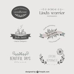 Vintage Blumenschablone Logos