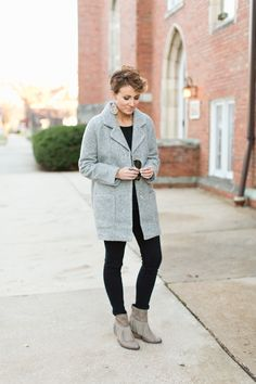 Winter Outfit Inspiration: Light gray coat and black pants with fringe boots. So Chic! via @ONElittleMOMMA
