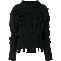 Philosophy Di Lorenzo Serafini fringed cable-knit turtleneck sweater (£470) ❤ liked on Polyvore featuring tops, sweaters, black, polo neck sweater, turtleneck top, cable sweaters, cable knit sweater and cable knit turtleneck sweaters