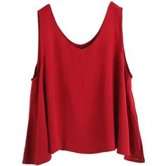 Red Loose Basic Tank (87 PLN) ❤ liked on Polyvore featuring tops, shirts, tank tops, blouses, polyester shirt, round top, loose shirts, cut loose shirt and loose fit tank