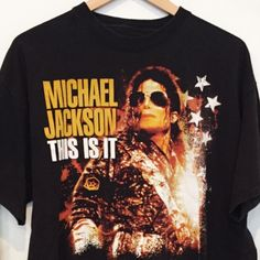 """Vintage Michael Jackson """"This is it"""" Black T-Shirt. Has image of Michael Jackson on front, plain black back. The tag is missing but we estimate this to fit like a size Large. Please see below measurem"""