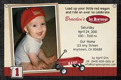 Red Wagon Birthday Party Invitations - Little Red Wagon – Radio Flyer inspired birthday party invitations personalized with your child's photo. The wagon, vintage papers and sign are all digitally layered with your photo to give the invitations a handmade look. #birthday-party-invitations