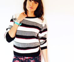 Vintage Striped Tulip Sweater / 80s Black and by thehappyforest