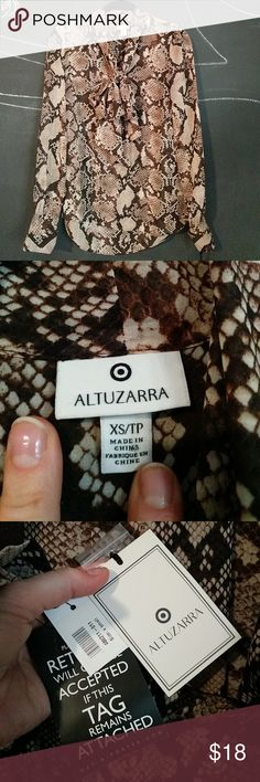 Altuzarra for Target snake print bow blouse Georgette buttondown blouse in snake print with secretary-style bow from the 2014 Altuzarra for Target line. Purchased from Net-a-Porter. Never worn. Altuzarra Tops Button Down Shirts