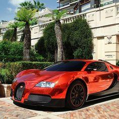 Mirrored Chrome Red Bugatti Veyron