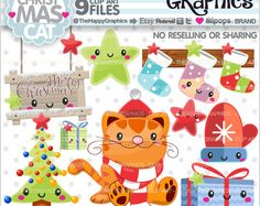 Christmas Clipart, Christmas Graphics, COMMERCIAL USE, Christmas Party, Planner Accessories, Winter Clipart, Christmas Cat