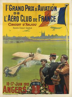 Premier Grand Prix d'Aviation de l'Aéro Club de France - circuit d'Anjou - Angers - 1912 - illustration de Ernest Louis Lessieux - France -