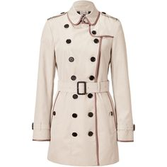 BURBERRY LONDON Trench Cotton Piped Queensland Trench Coat ($1,605) ❤ liked on Polyvore