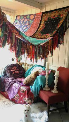 Boho Bedroom Patio Canopy Bohemian hippy vtg scarves by HippieWild