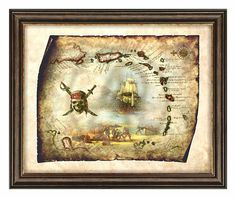 Antique Caribbean Islands of Pirate Treasure Island-Secret Map Art Decor,Old Map,Antique Map,Pirate Art,Pirate Map,Wall Art,Instant Download
