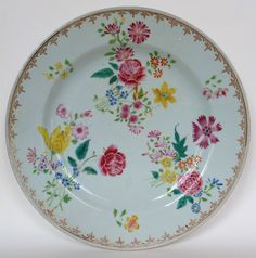 18th Cent Famille Rose plate with yellow flowers