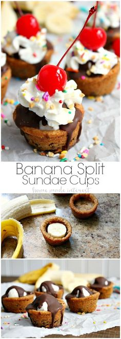 These easy banana split cookie cups are perfect for summer parties...or just a fun dessert for your family! Delicious cookie dough baked into cups and filled with chocolate, banana slices, whipped cream and of course a cherry on top. Who needs a plain old sundae when they could have a banana sundae cookie cup!