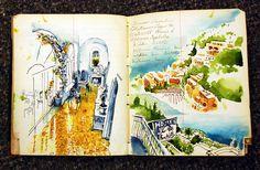 Italy travel watercolor sketchbook by Sketchbuch. Watercolor Sketchbook, Watercolor Drawing, Art Sketchbook, Artist Journal, Art Journal Pages, Tag Art, Graffiti, Illustration, Sketchbook Inspiration