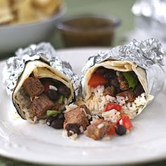 Chipotle chicken or steak burritos you can make at home... I have to try this!