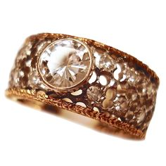 Mario Buccellati Gold and Diamond ring 7.5 | See more rare vintage Band Rings at http://www.1stdibs.com/jewelry/rings/band-rings