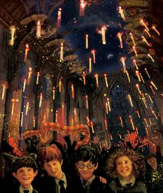 Hogwarts' Great Hall   Neville, Ron, Harry and Hermione. Jim Kay