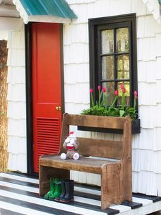 Pint-Sized Seating  in Low-Cost, High-Impact Ways to Dress Up a Playhouse from HGTV