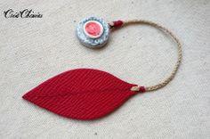 Marque-page cuir et lin, Ecarlate